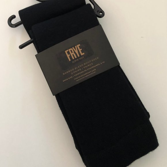 FRYE 2 Pair Bamboo Blend Black Boot Socks NWT